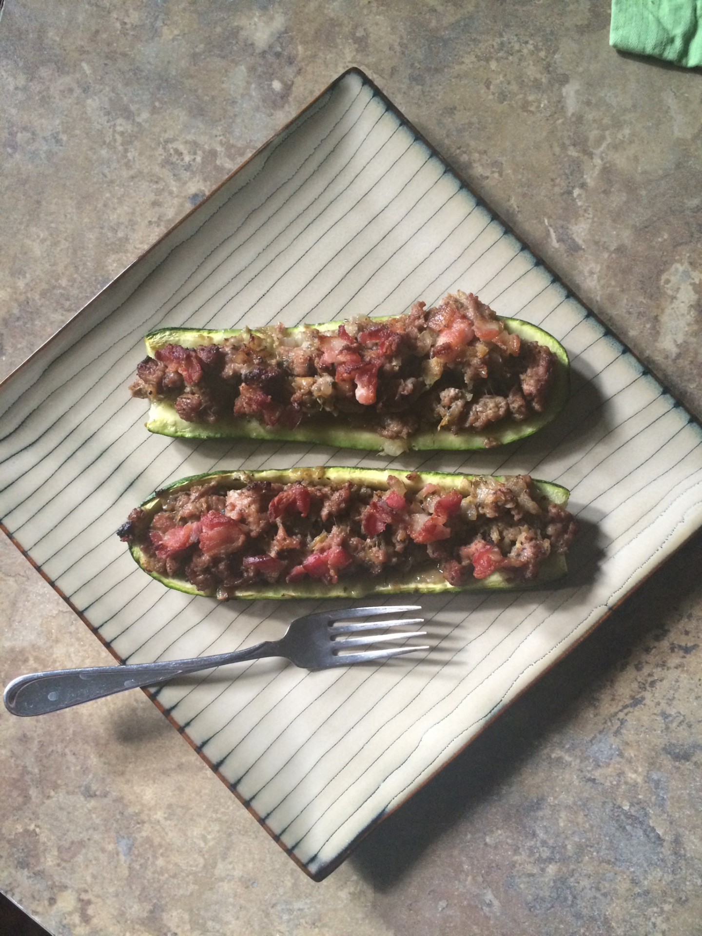 New Recipe!  Stuffed Zucchini Boats