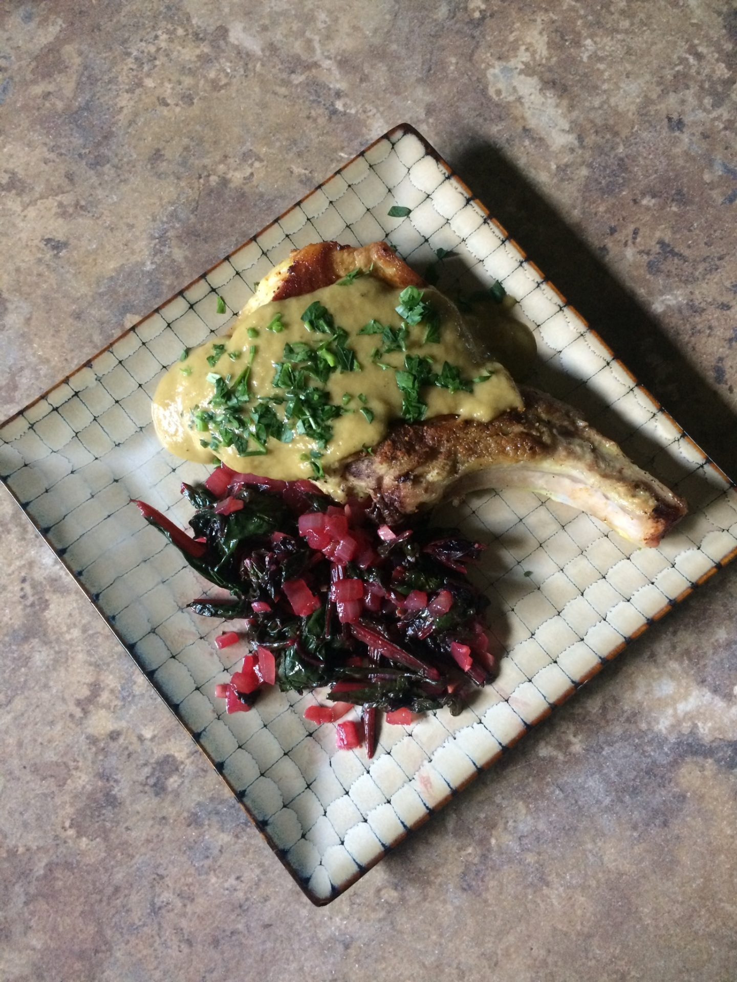 Pan-Seared Pork Chops with Apple-Rhubarb Gravy